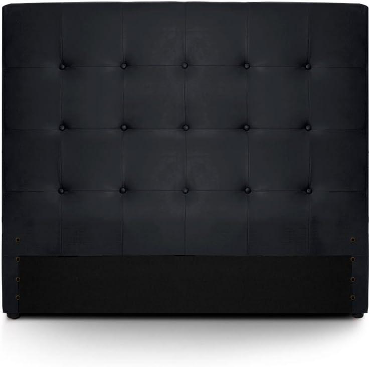 Menzzo HB140 Contemporain Luxor T/ête de Lit Bois Noir 8 x 150 x 122 cm