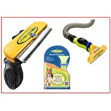 FURminator Deshedding Tool and FurVac Comb for Large Dogs with Long Hair