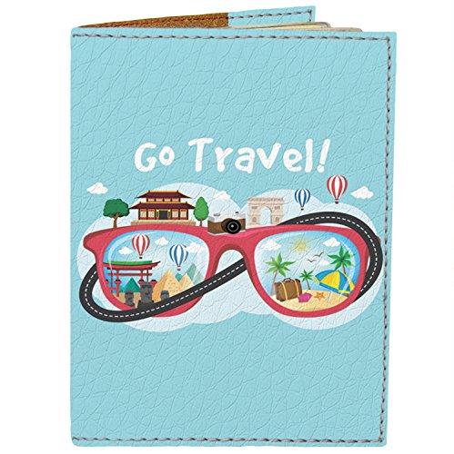 Passport Cover - Holder for Men Women Kids - Designer Vegan Leather Travel Case (Go Travel)