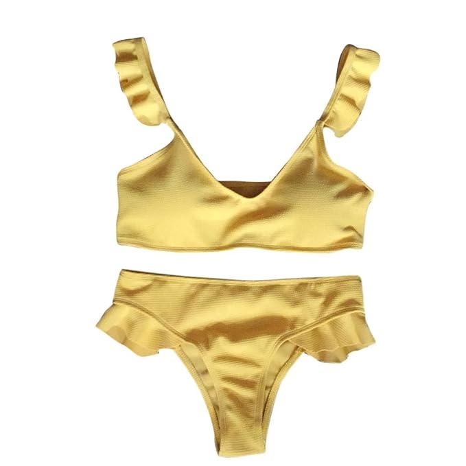 ReooLy Bikini para Mujer Sujetador Push-up Bandage Ruffle Traje de baño Ropa de Playa Traje de baño: Amazon.es: Ropa y accesorios