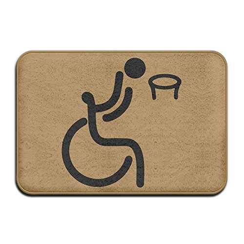 Wheelchair Basketball Skid Resistance Outings Doormat Bath Rug (Basketball Latex Rainbow)