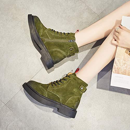Coreanos Boots Punta Martens De Botines Mujer Dr Moda Liangxie Verde Martin Retro RqvAw