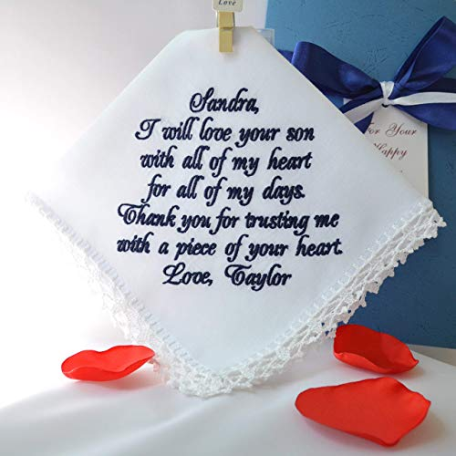 (Wedding gift for Mother of the Groom from Bride Mother in law gift Wedding handkerchief Wedding keepsake Personalized hankies Embroidered hankie Wedding favors Navy wedding gift for Mom in law)