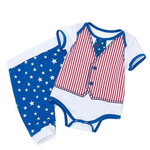 perfectCOCO Baby Boy Girl Outfits American Flag Star Romper + Shorts Blue Red 4th of July -