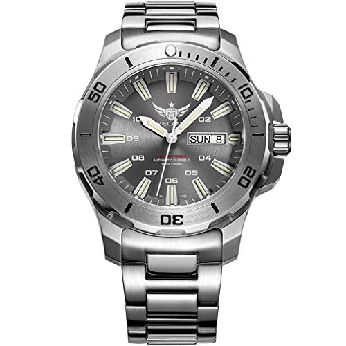 (Yelang V5.1 Mens Professional Diving Automatic Auto-Wind 300m 30Bar Waterproof Mechanical Wrist Watch with Swiss ETA 2836-2 Movement,T100 Tritium Tubes,Dual Calender,Exhaust Helium Device )