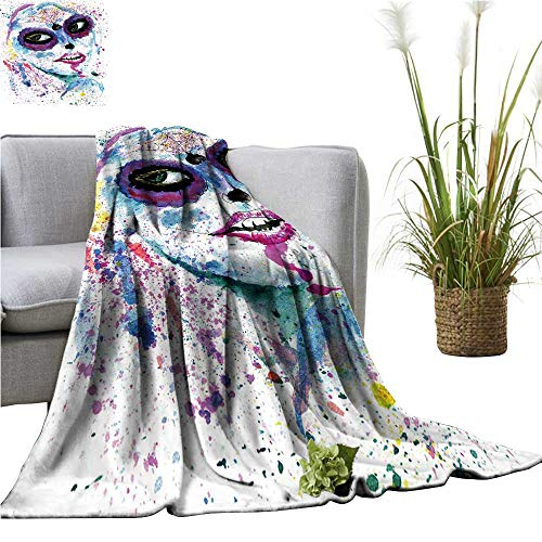 YOYI Travel Blanket Halloween Girl Sugar Skull Makeup Paint Easy to Carry Blanket -