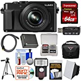 Panasonic Lumix DMC-LX100 4K Wi-Fi Digital Camera (Black) with 64GB Card + Case + Flash & Soft Box + Battery + Tripod + Kit