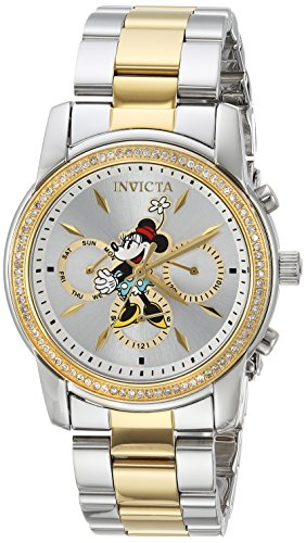 Invicta Women's 'Disney Limited Edition' Quartz Metal and Stainless Steel Casual Watch, Color:Silver-Toned (Model: 24394)