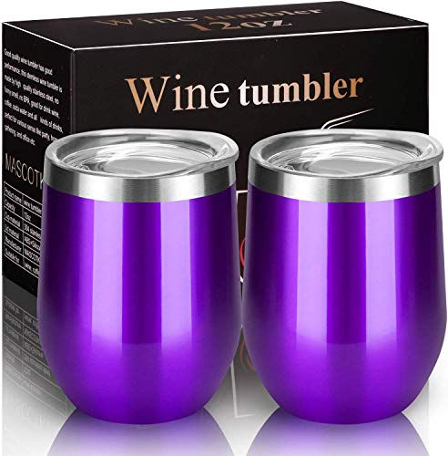 MASCOTKING Wine Glasses Tumbler - 12 oz 2 Pack - Double Wall Vacuum Insulated Cup with Lids for Keeping Wine, Coffee, Drinks - Beverage Warm in Winter-Best Christmas Gifts