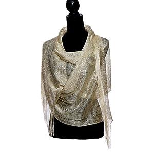 Shawls and Wraps for Evening Dresses, Metallic Sparkle Womens Wedding Shawl