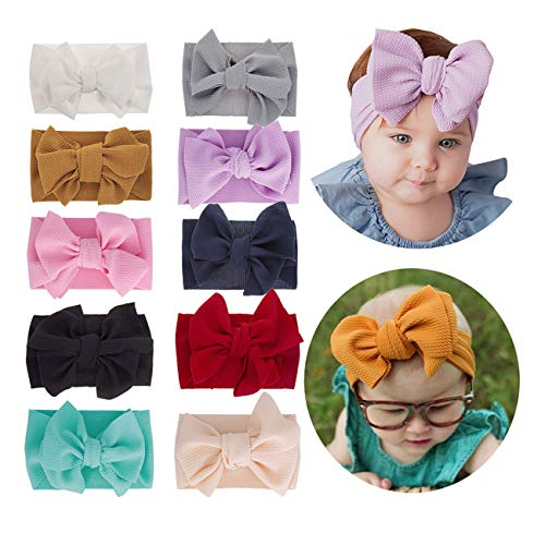 2019 Big Hair Bow Baby Headbands Knot Headwrap Nylon Elastic Head Wraps for Newborn Infant Toddler Hair Accessories (2019-C 10 Pack) (Best Cheap Bows 2019)