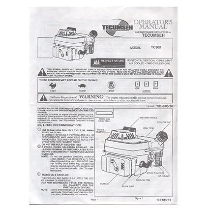amazon com original 1997 tecumseh model no tc300 2 cycle owners rh amazon com tecumseh hmsk100 owners manual tecumseh rototiller owners manual