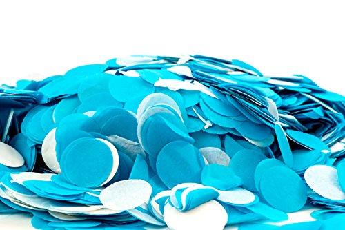 Confetti Kings Blue & White Biodegradable Paper Confetti Round Circle Confetti 7 Ounce (200g, Blue-White)
