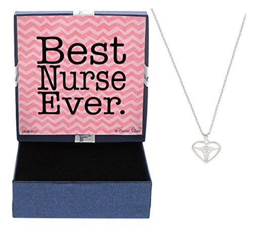 Mother's Day Gifts Nurse Gifts Best Nurse Ever Necklace Silver-Tone Heart and Caduceus Pendant Necklace Jewelry Box Gift Jewelry for Nurse RN Nurse Graduation Gift Mom Nurse Mom Gift