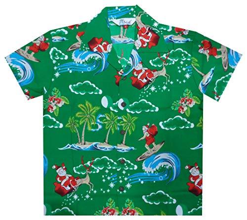 Alvish Hawaiian Shirts 41B Boys Christmas Santa Beach Aloha Party Camp Green M