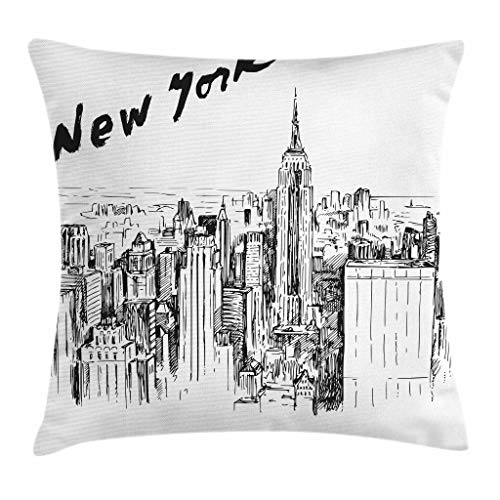 Ambesonne New York Throw Pillow Cushion Cover, Vintage Hand Drawn Urban Scenery with Skyscrapers Sketch Style Downtown, Decorative Square Accent Pillow Case, 18