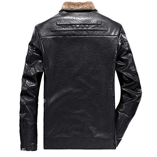 Giubbino black Da Moda Vera Nero Zolimx Biker Giacca Cotone Trapuntati Pelle Uomo Pelle Finta In wnYX7qgY6