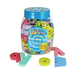 Bathtime Buddies alphabet foam letters set wet stick and play includes 65 lowercase letters and handy net storage bag