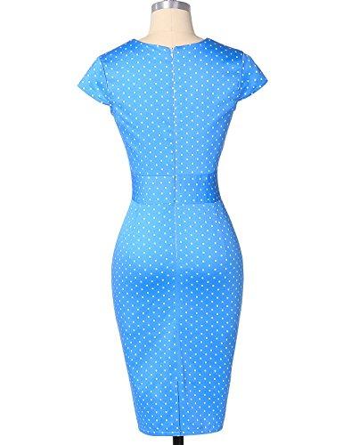 Élégantes Robes De Style Vintage Rétro Porter Au Travail Bleu M Cl7597-4