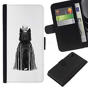 KLONGSHOP // Tirón de la caja Cartera de cuero con ranuras para tarjetas - Lobo oscuros bosques - Sony Xperia Z2 D6502 //