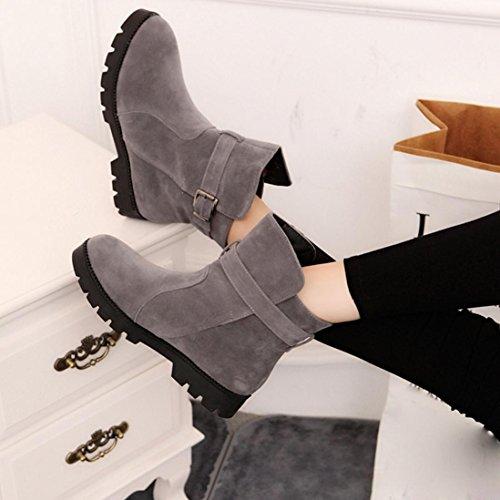 Botas Mujer,Ouneed ® Moda mujer invierno caliente grande nieve tobillo botas sólido Martin Gris