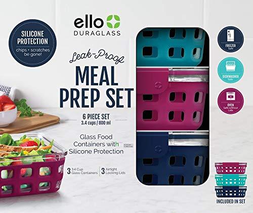 Ello DuraGlass Food Storage (6-piece meal prep set, -