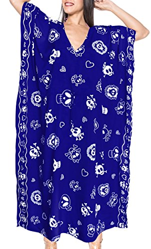 LA LEELA Likre Printed Long Caftan Dress Women Royal Blue_583 OSFM 14-22W [L-3X]