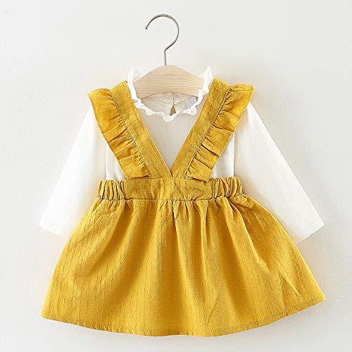 feiXIANG Ropa para niños Ropa para niños pequeños niñas de Manga Larga Refuerzos Ropa de Fiesta Vestido de Princesa (6-24M) niñas Vestido de Princesa Correa ...