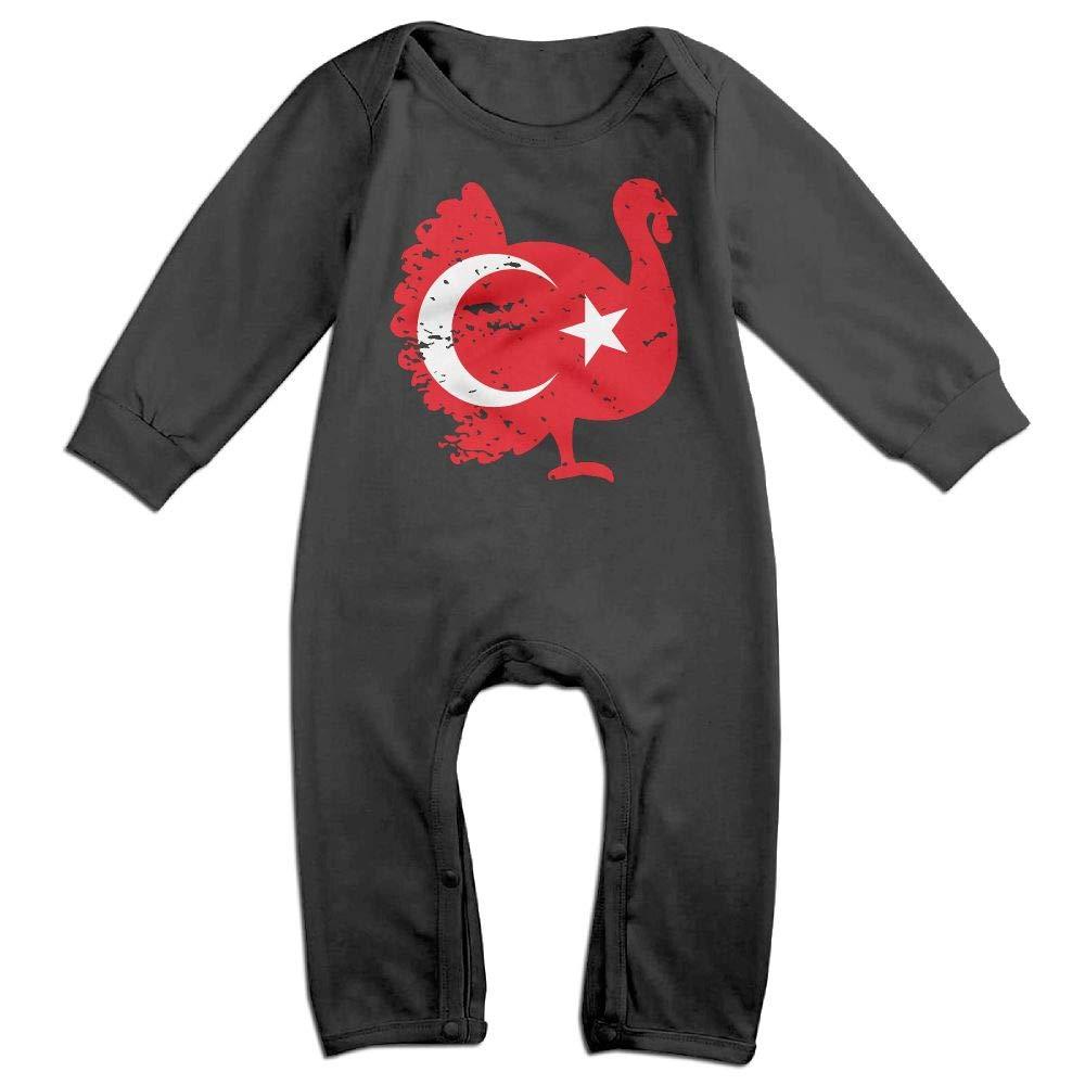 Mri-le1 Baby Boy Girl Long Sleeve Jumpsuit Turkey Patriotic Turkey Thanksgiving Infant Long Sleeve Romper Jumpsuit