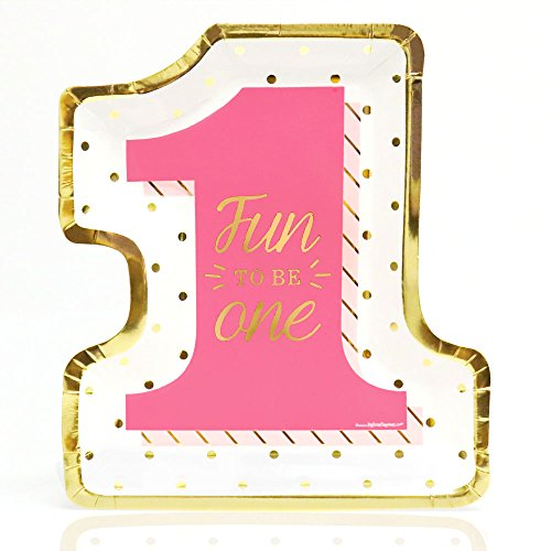 Big Dot of Happiness Fun to be One - 1st Birthday Girl with Gold Foil - Dinner Plates (8 Count)