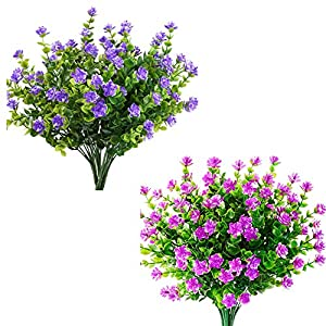 Wootkey Artificial Flowers Outdoor UV Resistant Plants Shrubs Boxwood Plastic Leaves Fake Bushes Greenery for Window Box Home Patio Yard Indoor Garden Light Office Wedding Decor Wholesale 104