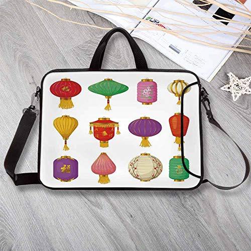 - Lantern Custom Neoprene Laptop Bag,Chinese Celebration Asian Culture Far East New Year Cartoon Style Festival Tassels Decorative Laptop Bag for Men Women Students,15.4