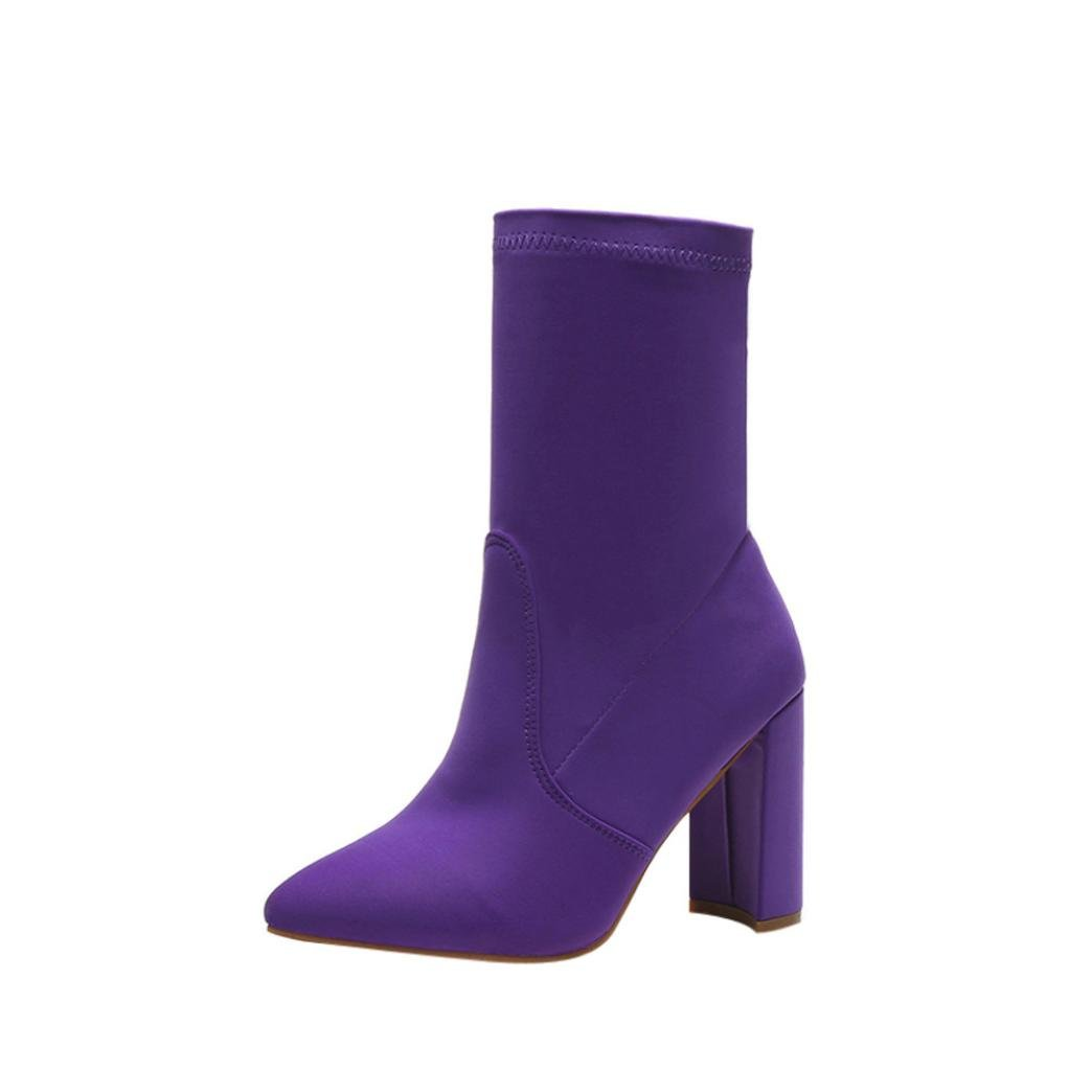 Hunzed { Winter Boots Women Fashion { High Heel } Boots { Classic Stretch Shoes } Ladies Casual { Fabric Ankle Boot Shoes } (Purple, 37)