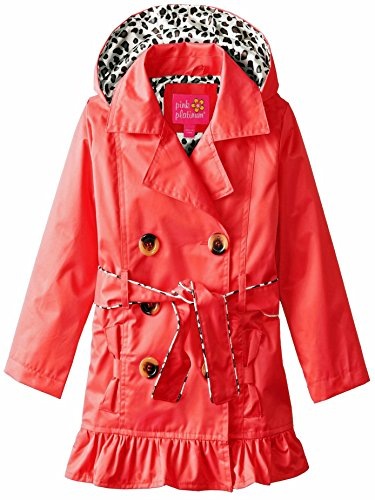 Pink Platinum Toddler Girls' Little Classic Trench W/Satin Lining, Red, 4T by Pink Platinum (Image #1)