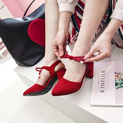 Donna Colori Rosso Estate Punta High 3 Caviglia Pizzo Heeled A Sandali Quadrato JUWOJIA Sandali Tacco Donna q6YAw1ZWx