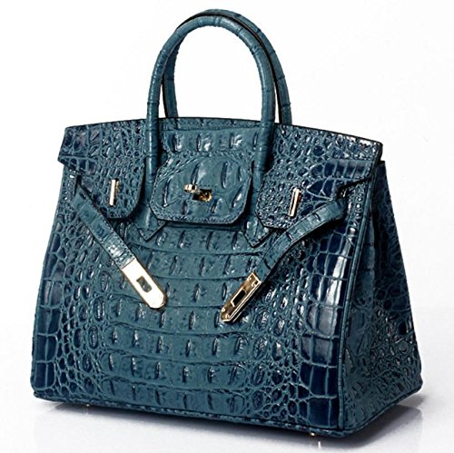 Vintage Alligator Birkin Style Bag Purse Tote Handbag (Red, 35cm - L) by PRISTINE&BB (Image #9)