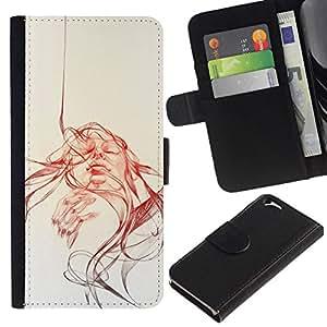 NEECELL GIFT forCITY // Billetera de cuero Caso Cubierta de protección Carcasa / Leather Wallet Case for Apple Iphone 6 // Cara Remolino