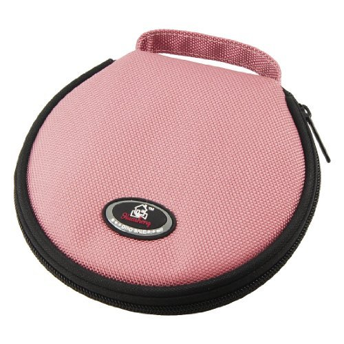 DealMux Pink Black Nylon 20 Pcs Capacity CD DVD Holder Round Wallet Case