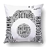 Throw Pillow Covers Photography Info Text Cloud Word Composed in The Shape of Generic Camera 18 x 18 Inch Square with Hidden Zipper Polyester Home Sofa Cushion Decorative 45cm