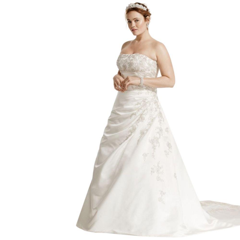 Davids Bridal A Line Plus Size Wedding Dress With Lace Up Back