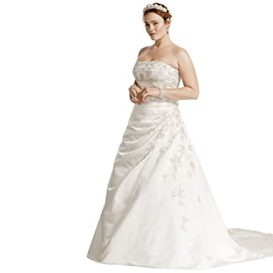 David\'s Bridal A-line Plus Size Wedding Dress with Lace Up Back ...