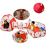 Soulstore Baby Pit Balls, Kids Pop Up Play House Tent Tunnel Pool Indoor and Outdoor, Cute Polka Dot 3-in-1 Play House Children's Playground with Zippered Storage Bag