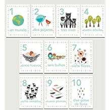 Our Earth Counting Wall Cards in Spanish, Number Flash Cards, Set of Ten 5x7 Wall Art Prints, Nursery Wall Art Decor, Kid's Art Decor, Gender Neutral Nursery, Nature Themed, Woodland Nursery, Playroom by Children Inspire Design