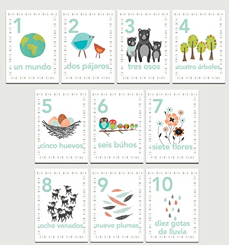 Our Earth Counting Wall Cards in Spanish, Number Flash Cards, Set of Ten 5x7 Wall Art Prints, Nursery Wall Art Decor, Kid's Art Decor, Gender Neutral Nursery, Nature Themed, Woodland Nursery, Playroom