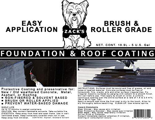 ZACKS - Foundation and Roof Coating - 5 Gallon - Crack Repair - Seal Repair - Total Coverage - Asphalt Based - Waterproof