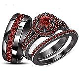 ArtLine Jewels 2.40 Carat Round Cut Red Garnet in 14K Black Gold Finish His & Her Trio Ring Set