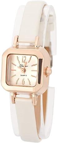 Watches for Women, Fashionable Female Quartz Wrist Watch Analog PU Strap Wristwatch(White)