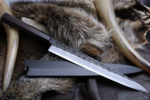 "Yoshihiro Hongasumi White Steel Black Hammered Forged Yanagi Sashimi Knife 10.5"" with Nuri Saya Cover"