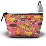 Mexican Food Hat Traditional Cosmetic Bags Portable Travel Toiletry Pouch Makeup Organizer Bag With Zipper