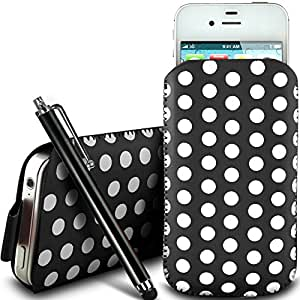 N4U Online - Huawei Ascend Y330 protección pu Polka de cuero con cremallera diseño antideslizante de cordón en la bolsa del caso con cierre rápido y grande Stylus Pen - Negro